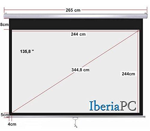 Pantalla proyector manual 136 (2,44m x 2,44m): Amazon.es: Electrónica