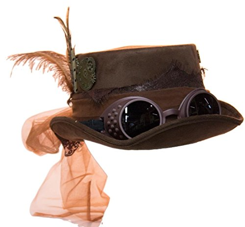 Deluxe Velvet 4.25 Inch Steampunk Top Hat with Removable Goggles (Brown)