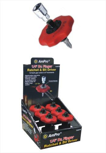 AMPRO T19087 1/4-Inch Drive Finger Ratchet and Bit - Finger Set Socket Driver