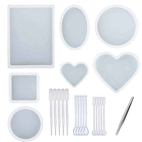 7 PCS Oversized Resin Mold, Transparent Silicone Molds Tools Set Included Rectangular, Square, Round, Oval, Heart Shaped Casting Mold, 1 PCS Tweezers and 15 PCS Plastic Making Tools for DIY Resin Cast ()