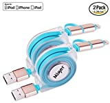 Miger Apple Certified 2Pack Retractable Charge and Sync 2-in-1 Cable with Lightning & Micro USB Connectors for iPhone - iPad - iPod Touch 5 Nano 7 on iOS9 - Samsung HTC & More - 3.3 Feet(1 Meters)