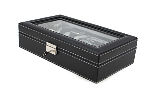(Top Quality Leatherette Executive Combo Jewelry Box and Sunglass Glasses Display Case Organizer (Black))
