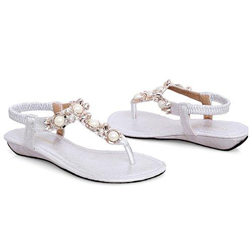 SUNAVY Damen Strass Schuhe Knöchelriemen Bling Beaded T-Strap Sandalen niedrige-heel Sommer Strand Schuhe Flip Flops Silber