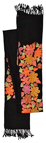 Kashmiri Women's Embroidered Shawl/Stole Wrap (Black, 28 inch x 80 inch) Made in India