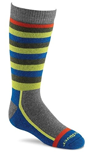 FoxRiver Kids Snow Day Over-The-Calf Merino Wool Socks, X-Small, Grey