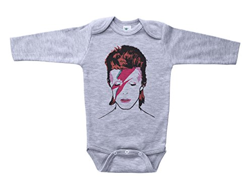 Ls Rock (Baffle David Bowie Onesie/Bowie/Ziggy Stardust/Infant Bodysuit For Babies (3-6M, Grey LS))