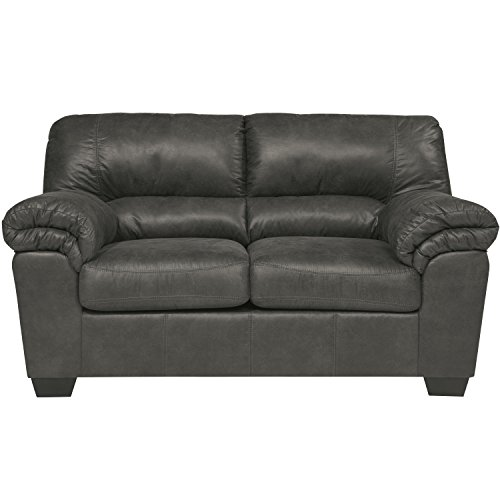 Signature Design by Ashley Bladen Loveseat in Slate Faux Leather (Leather Faux Reception)