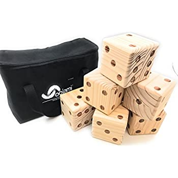 Giant Wooden Yard Dice with Carrying Canvas Bag