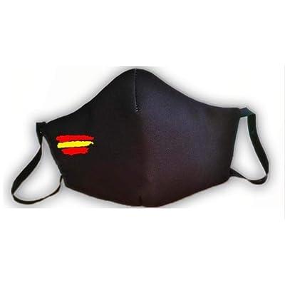 Mascarilla homologada protectora negra bandera de España producto fabricado en España