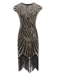 1920s Plus Flapper Gatsby vestido de cóctel festoneado con lentejuelas con 20 accesorios