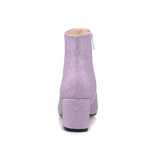 VogueZone009 Damen Niedrig-Spitze Rein Spitz Zehe Mittler Absatz Stiefel mit Paillette Lila