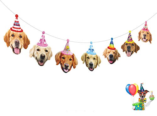Gyzone Birthday Golden Retriever Garland, Funny Dogs Face Portrait Birthday Banner, Bday Bunting Decorations