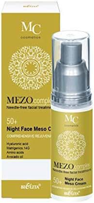 Bielita & Vitex MEZOcomplex Line Night Face Mezo Cream 50+ Complex Rejuvenation for All Skin Types, 50 ml with Hyaluronic Acid, Collagen, Avocado Oil, Cocoa Butter, Amino Acid Cocktail, Vitamins