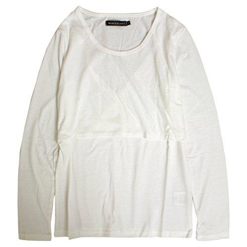 保安ペックドラッグ授乳服 長袖 Tシャツ 授乳口付き 無地 長袖Tシャツ 産後対応 マタニティウェア ホワイト-M7870 M