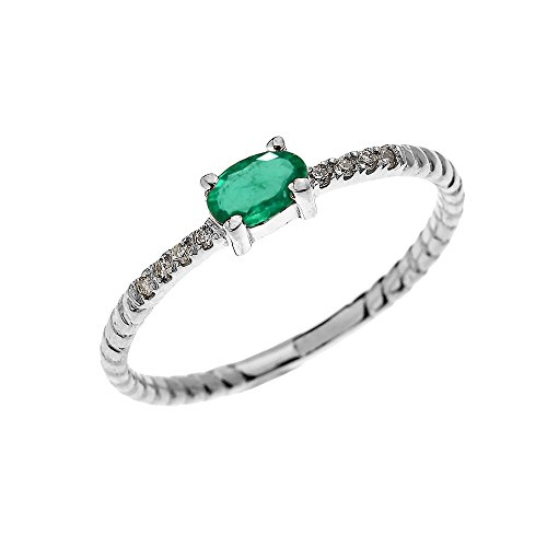 Dainty 10k White Gold Diamond and Solitaire Oval Emerald Rope Design Stackable/Proposal Ring(Size 7) (Rope Diamond Gold White)