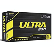 Wilson Ultra 500 Golf Ball (15-Pack), Yellow (Renewed)