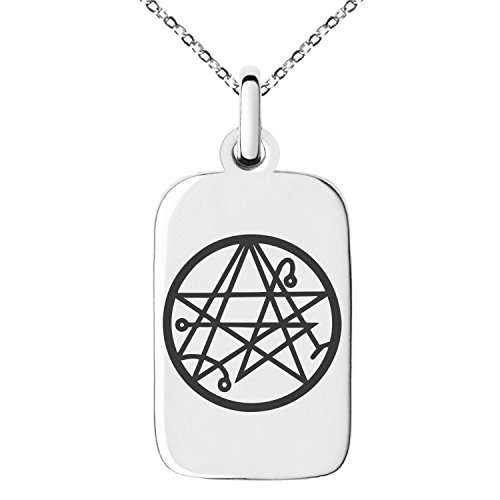 Stainless Steel Necronomicon Talisman Rune Symbol Engraved Small Rectangle Dog Tag Charm Pendant Necklace (Pendant Dog Tag Rectangular)