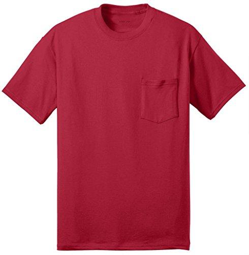 Joe's USA Mens Tall 50/50 Cotton/Poly Pocket T-Shirt-3XLT-Red