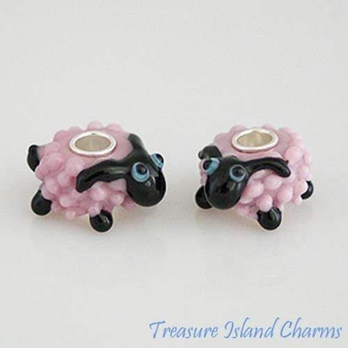 Sheep Lamb Pink Murano Lampwork Glass .925 Sterling Silver Bead Charm Fits European Bracelet - Jewelry Making Supply by Charm Crazy