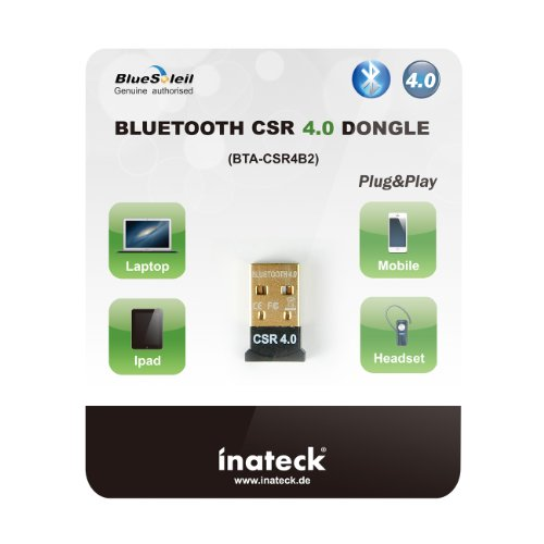 Inateck compacto Mini USB Bluetooth 4.0 USB adaptador Dongle Bluesoleil Genuino autorizado USB 2.0 inalámbrico para PC de escritorio del ordenador portátil ...
