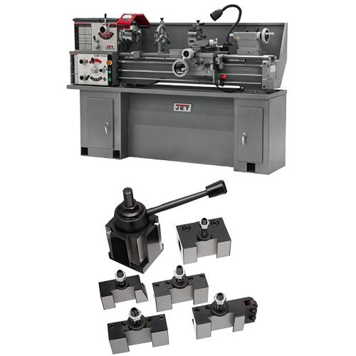JET GHB-1340A Bench Lathe with Collet Closer with 200 Series Quick Change Tool Post Set by Jet