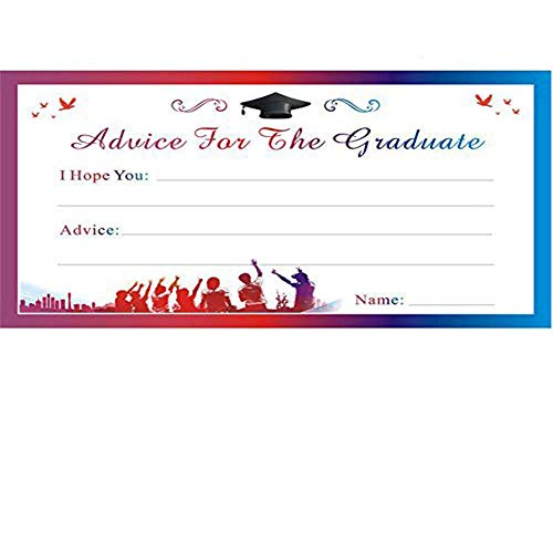 MZYARD 25pcs Graduation Advice Cards for The Graduate - 2018 High School or College Graduation Party Games Activities Invitations (Graduation Invitations School Party High)