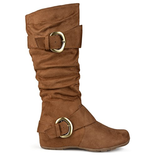 Brinley Co Women's Augusta-02 Slouch Boot, Camel, 7.5 M - Slouch Buckle Knee Boot