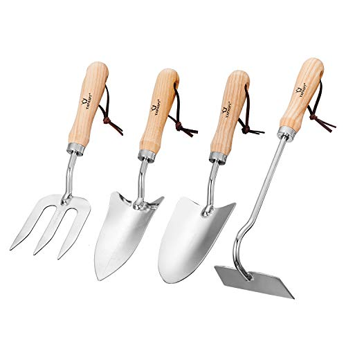 Gardening Tool Sets - 4 Piece Heavy Duty Garden Hand Tools Kits with Wood Handle and Stainless Steel Head - Trowel Cultivator Transplanter and Weed Fork - by YAPASPT (Fork Garden Spade And Set)