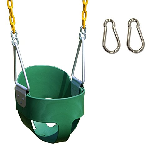 - Eastern Jungle Gym Heavy-Duty High Back Full Bucket Toddler Swing Seat with Coated Swing Chains & 2 Snap Hooks Fully Assembled Playset, Green Bucket SEAT, Yellow Swing Chains