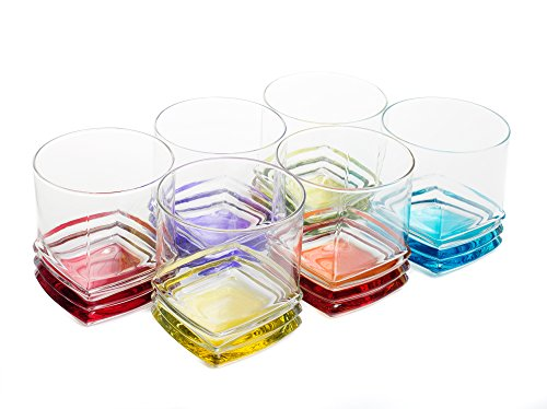 Multicolor Double Old Fashioned Rocks Glasses (10-Ounces, Set of 6)