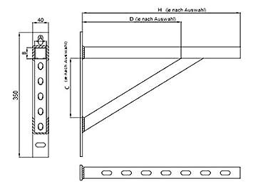 Schienenkonsole Auslegerkonsole Wandtr/äger Schwerlasttr/äger Tr/äger Gewindestange Schwerlastkonsole 700 mm 18094-003 MKK