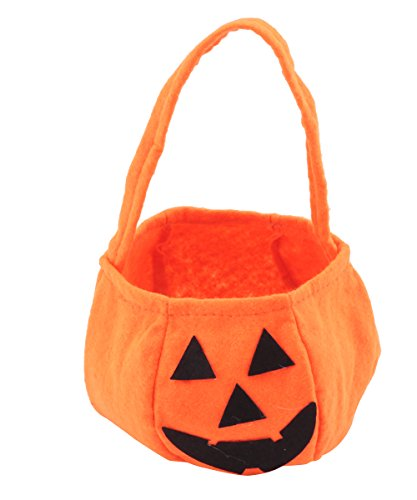 Trick Or Treat Kids Costume (Halloween Candy Totes Kid's Pumpkin Candy Basket Trick-Or-Treat Outfit Toys Holder Cloth Bags 2 packs)