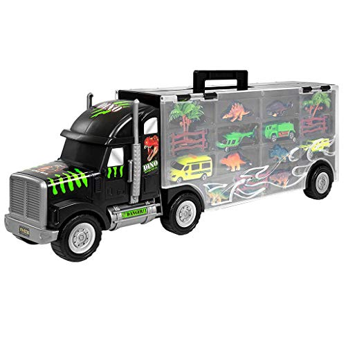 Sikye Big Size Transporter Car Dinosaur Transport Carrier 16-Piece Includes 6 Dinosaurs, 3 Cars, 3 Fences, 2 Trees, 1 Bush, and 1 Helicopter by Sikye (Image #3)