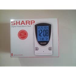 Sharp Digital Travel Alarm Clock with Light and Indoor Temperature