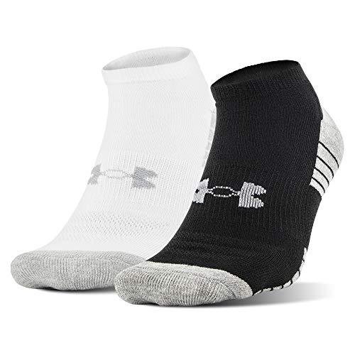 Under Armour Tech No Show Socks 2 Pairs, Black/White Assorted, Medium