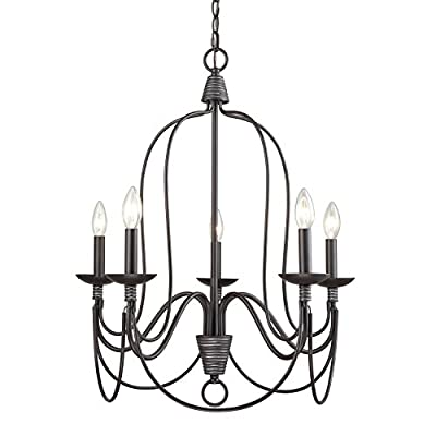 YOBO Lighting 5-Light Industrial Candle Chandelier, Oil Rubbed Bronze - Antique industrial kitchen candle chandelier chain ceiling pendant light, 5 light A nice touch above the table in your dining room or kitchen alcove The cable chain is approx. 47.24-in, E12*5 (bulbs NOT included) - kitchen-dining-room-decor, kitchen-dining-room, chandeliers-lighting - 415rgHgum L. SS400  -