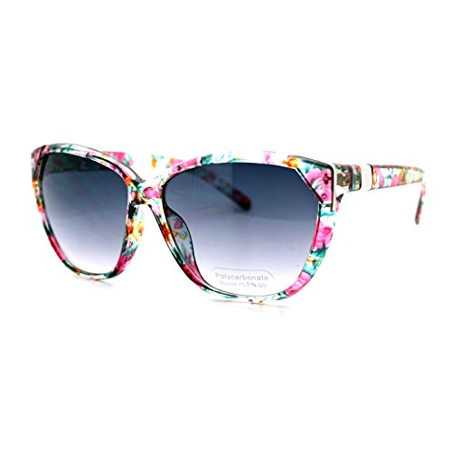 Clear Floral Flower Print Sunglasses Women's Oversized Square - Sunglasses Print