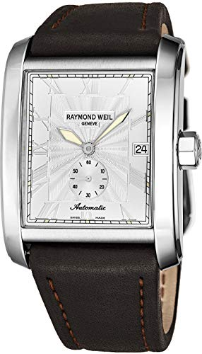 Raymond Weil Don Giovanni Mens Square Automatic Watch - Silver Face with Luminous Hands, Date and Sapphire Crystal - Swiss Made Black Leather Band Classic Watch 2875-STC-00658