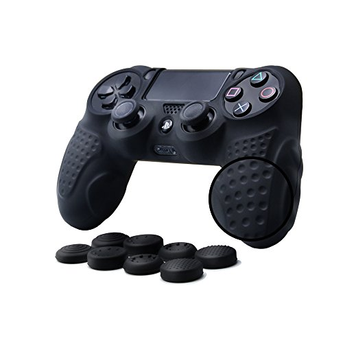 (CHINFAI PS4 Controller DualShock 4 Skin Grip Anti-Slip Silicone Cover Protector Case for Sony PS4/PS4 Slim/PS4 Pro Controller with 8 Thumb Grips (Black))