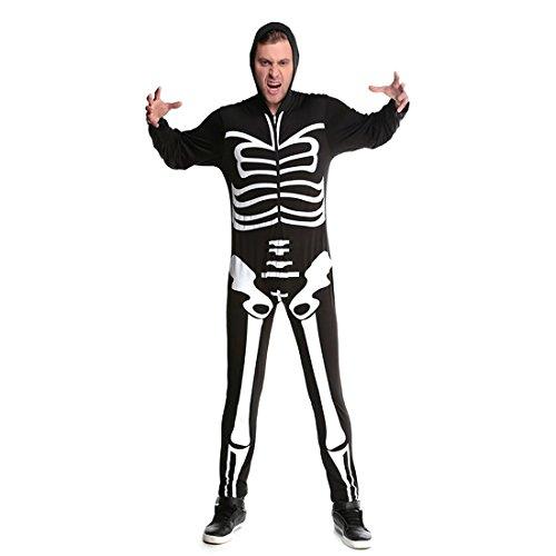 Slocyclub Couples Skeleton Bone Skin Jumpsuit Adult Costume for Men