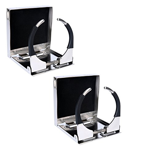 """Amarine-made Pair of Bigger Stainless Steel Adjustable Folding Drink Holders Marine Boat Caravan car for Mug Cup up to Dia 3-3/8"""""""