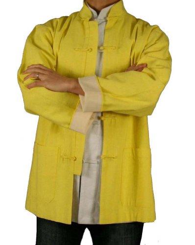 Lin Premium Col Mao Veste Dorée Tai Chi Arts Martiaux Blouson Homme Tailleur #108