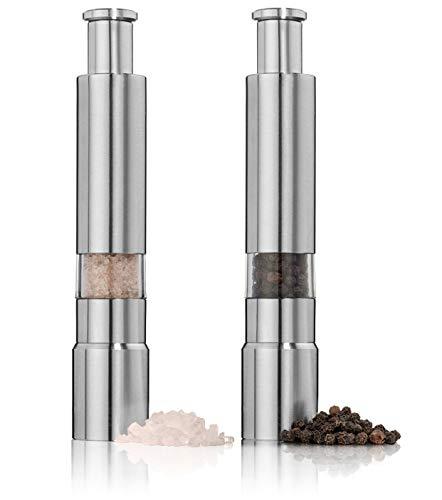 Keweis Salt and Pepper Grinder Set of 2,Stainless Steel Push Button Grinder Modern Design Thumb Grinder, for Black Pepper, Sea Salt and Himalayan Salt, Spice and Salt