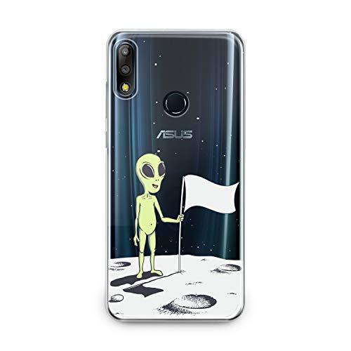(Lex Altern TPU Case Asus Zenfone Max Plus M1 M2 5z 5 Lite 4 Selfie Pro Clear Silicone Cute Green Alien Cover Fantasy Printed Protective Lightweight Flexible Pattern Women Moon)