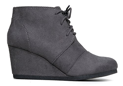 Casual J Heel Heel Charcoal up Comfortable Adams Low Ankle Women's Boot Short Imsu Fashion Bootie Lace Wedge Heeled Bootie xBxP0