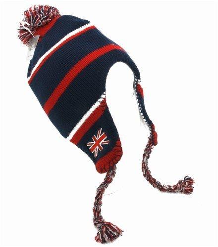 Damen Wintermütze / Strickmütze mit England Union Jack Motiv im Peruanischem Stil mit Quasten