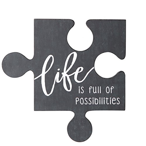 NIKKY HOME Inspirational Wood Puzzle Piece Wall Sign Plaque with Sayings, ()