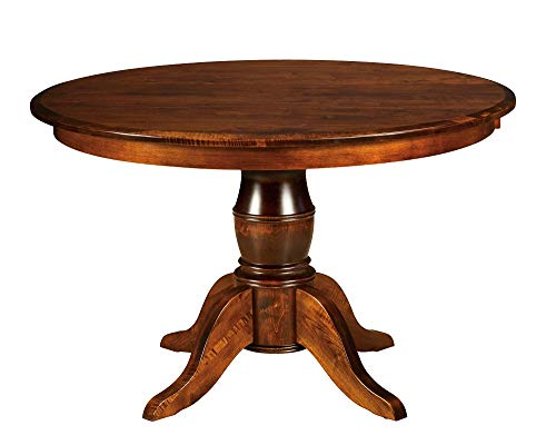 New Hickory Wholesale Amish Harrison Solid Wood Single Pedestal Dining Table, Stained (48