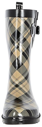 (Capelli New York Ladies Plaid Printed Mid- Calf Rain Boot Warm Sand 10)