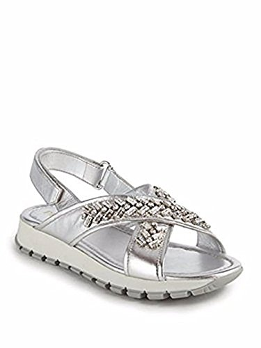 Prada Womens Embellished - Prada Crystal-Embellished Metallic Leather Sandals 39.5